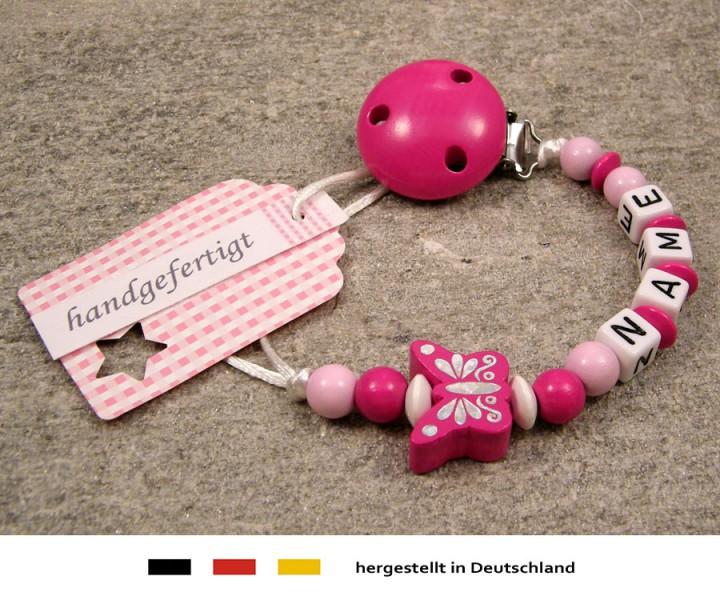 Schnullerkette mit Namen - Schmetterling in pink