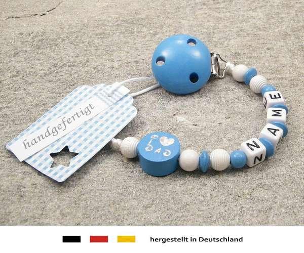Schnullerkette mit Wunschnamen Motiv i love dad / mom in skyblau
