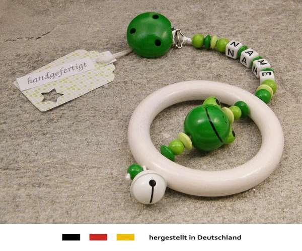 Kinderwagenkette mit Wunschnamen Frosch in grün