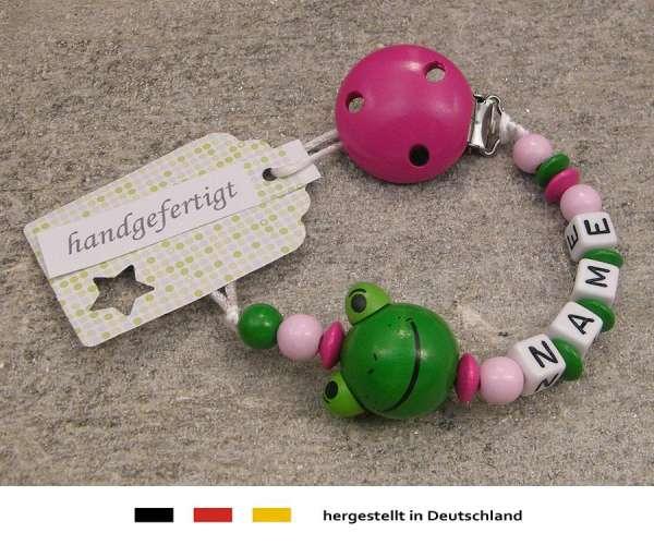 Schnullerkette mit Wunschnamen Motiv Frosch in pink