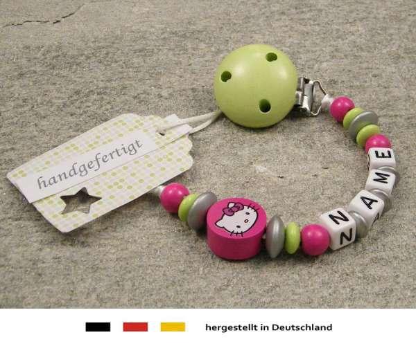 Schnullerkette mit Wunschnamen Motiv Hello Kitty in pink, lemon grün