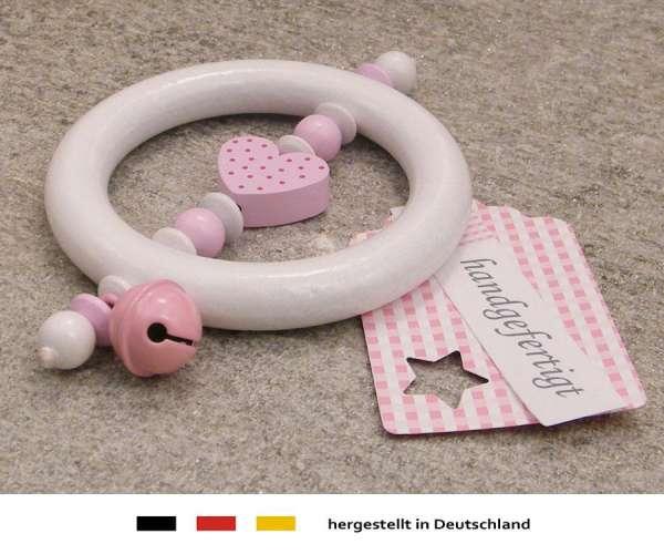 Greifling Rassel Motiv Herz in rosa