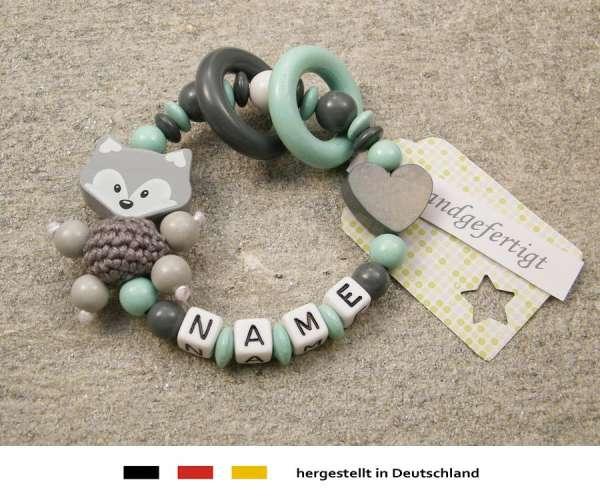 Greifling geschlossen mit Namen – Fuchs und Herz in grau mint
