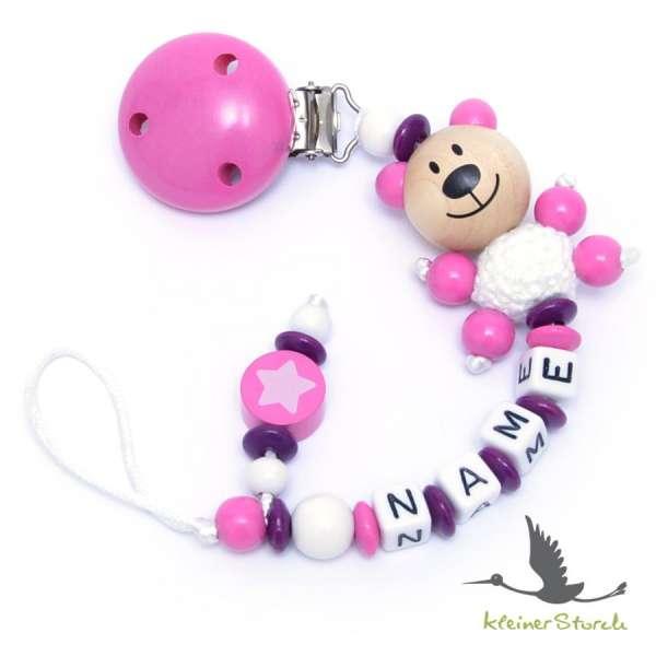 Schnullerkette mit Wunschnamen Motiv Bär und Stern in purpur pink