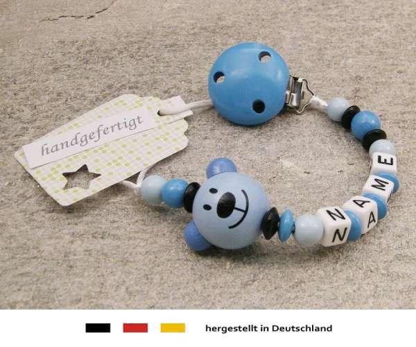 Schnullerkette mit Wunschnamen Motiv Bär in blau