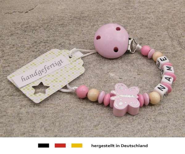 Schnullerkette mit Wunschnamen Motiv Schmetterling in rosa