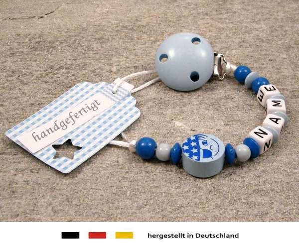 Schnullerkette mit Wunschnamen Motiv Pirat in hellblau