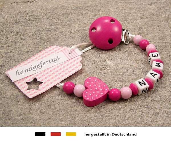 Schnullerkette mit Wunschnamen Motiv Herz in pink