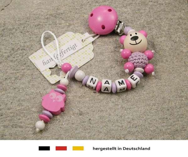 Schnullerkette mit Wunschnamen Motiv Bär und Eule in pink