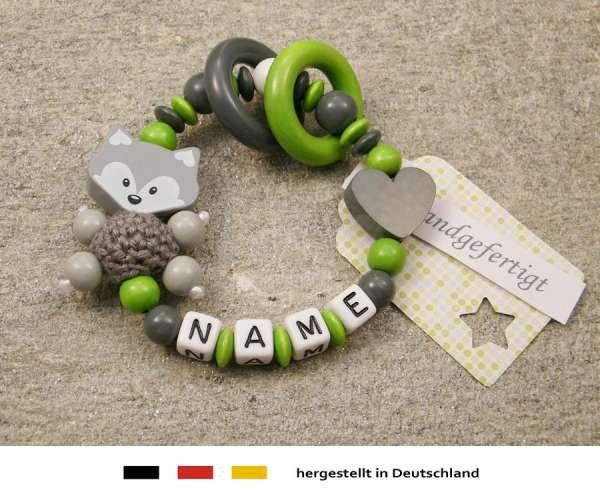 Greifling geschlossen mit Namen – Fuchs und Herz in grau grün