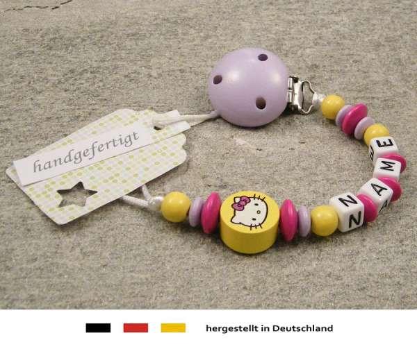 Schnullerkette mit Wunschnamen Motiv Hello Kitty in gelb, pink