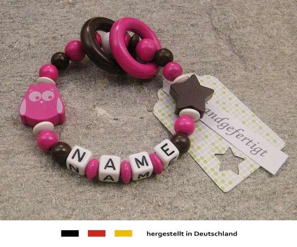 Greifling geschlossen mit Wunschnamen Motiv Eule & Stern in pink