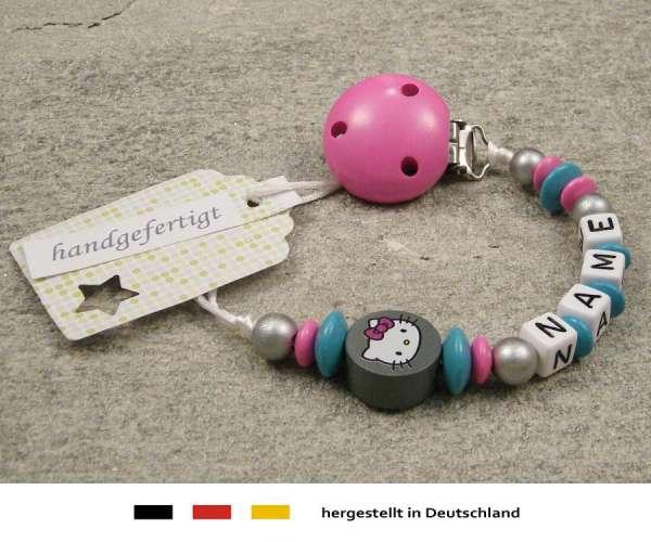 Schnullerkette mit Wunschnamen Motiv Hello Kitty in grau, türkis