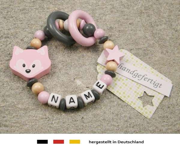 Greifling geschlossen mit Namen – Fuchs in rosa