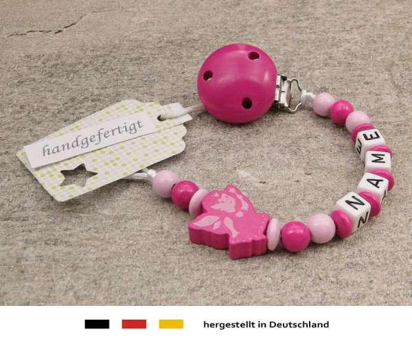 Schnullerkette mit Wunschnamen Motiv Fee in pink
