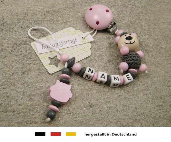 Schnullerkette mit Wunschnamen Motiv Bär Eule in rosa