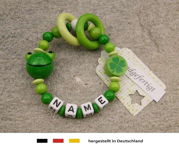 Greifling geschlossen mit Wunschnamen Motiv Frosch in grün