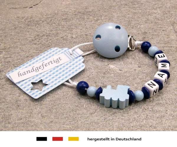 Schnullerkette mit Wunschnamen Motiv Lokomotive in hellblau
