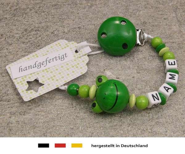 Schnullerkette mit Wunschnamen Motiv Frosch in grün