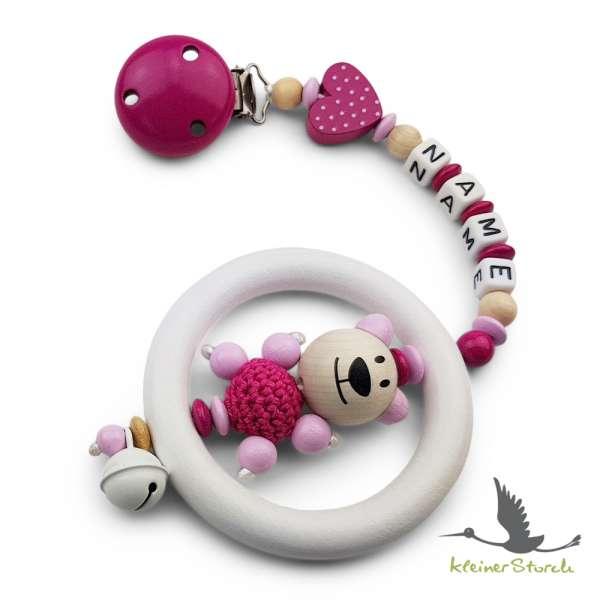 Kinderwagenkette mit Wunschnamen Bär und Herz in pink
