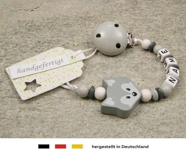 Schnullerkette mit Wunschnamen Motiv Fuchs in grau