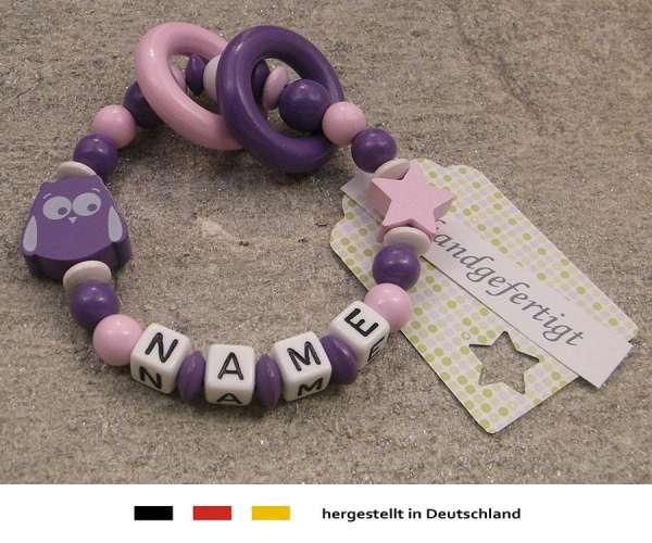 Greifling geschlossen mit Wunschnamen Motiv Eule & Stern in lila