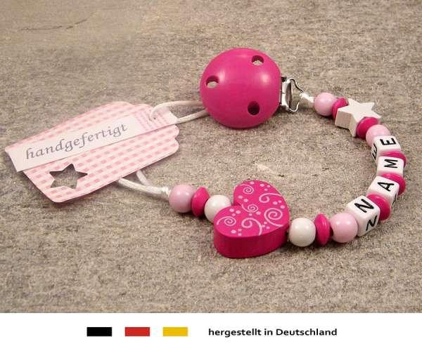 Schnullerkette mit Wunschnamen Motiv Ornament in pink