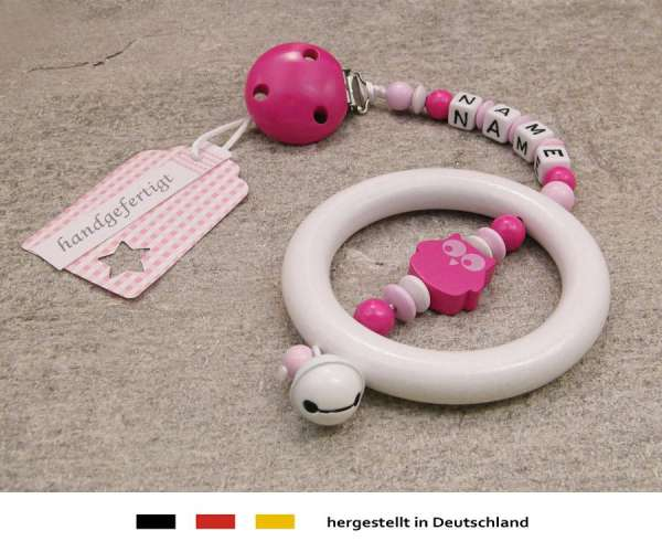 Kinderwagenkette mit Wunschnamen Eule in pink