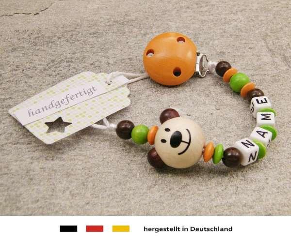 Schnullerkette mit Wunschnamen Motiv Bär in natur orange