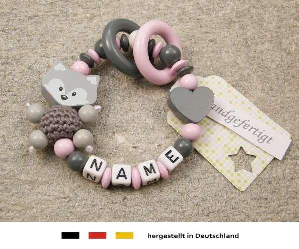 Greifling geschlossen mit Namen – Fuchs und Herz in grau rosa
