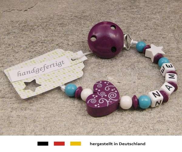 Schnullerkette mit Wunschnamen Motiv Ornament in purpur lila