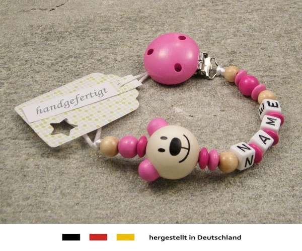 Schnullerkette mit Wunschnamen Bär pink
