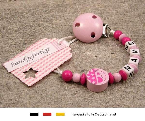 Schnullerkette mit Wunschnamen Motiv Pirat in rosa