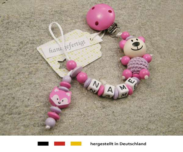 Schnullerkette mit Wunschnamen Motiv Bär Fuchs in pink