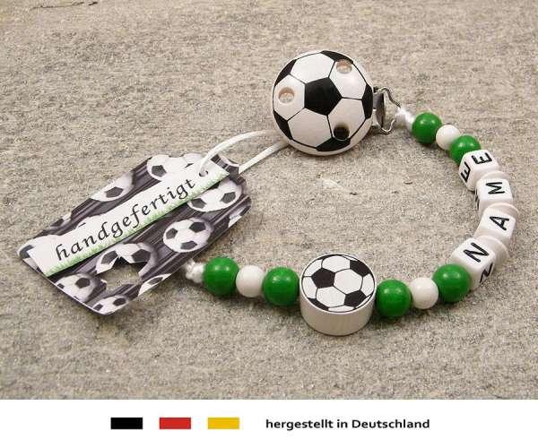 Schnullerkette mit Wunschnamen Motiv Fussball in grün, weiss