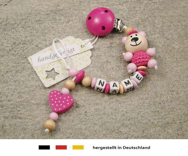 Schnullerkette mit Wunschnamen Motiv Bär und Herz in pink