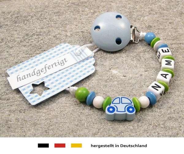 Schnullerkette mit Wunschnamen Motiv Auto in hellblau
