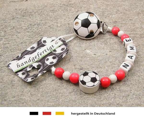 Schnullerkette mit Wunschnamen Motiv Fussball in rot, weiss