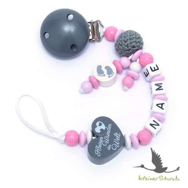 Schnullerkette mit Wunschnamen Motiv Häkelperle und Herz in rosa