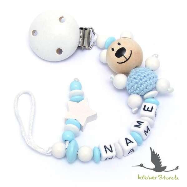 Schnullerkette mit Wunschnamen Motiv Bär und Stern in blau
