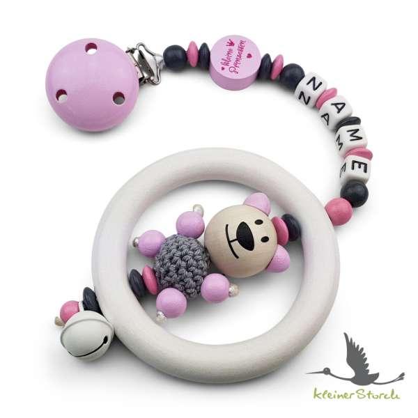 Kinderwagenkette mit Wunschnamen kleine Prinzessin in rosa