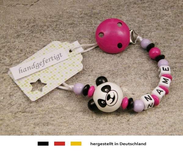 Schnullerkette mit Wunschnamen Motiv Panda Bär in pink