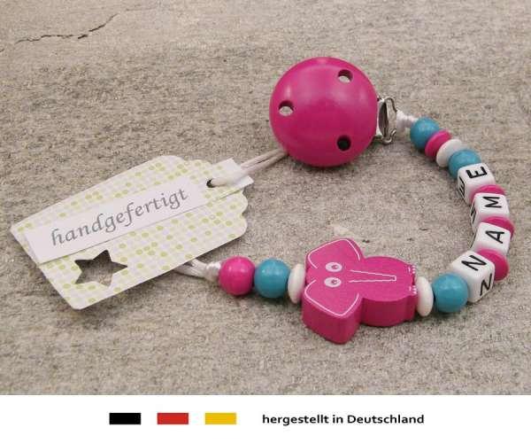 Schnullerkette mit Wunschnamen Motiv Elefant in pink