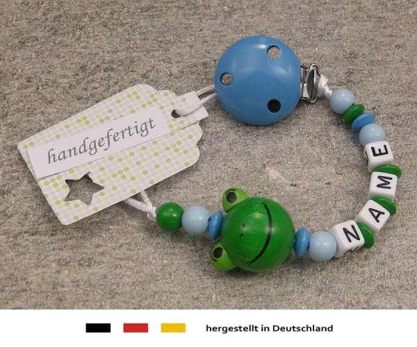 Schnullerkette mit Wunschnamen Motiv Frosch in hellblau