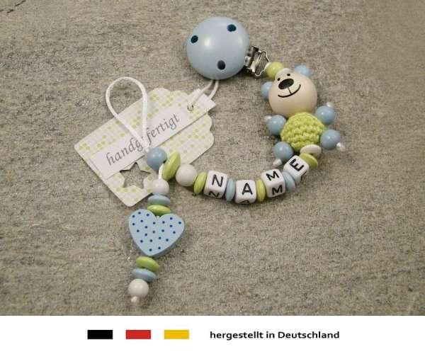 Schnullerkette mit Wunschnamen Motiv Bär und Herz in hellblau