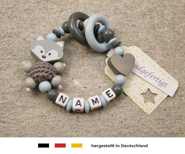 Greifling geschlossen mit Namen – Fuchs und Herz in grau hellblau
