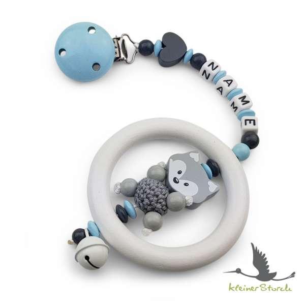 Kinderwagenkette mit Wunschnamen Fuchs und Herz in blau