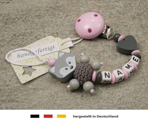 Schnullerkette mit Wunschnamen Motiv Fuchs und Herz in grau rosa