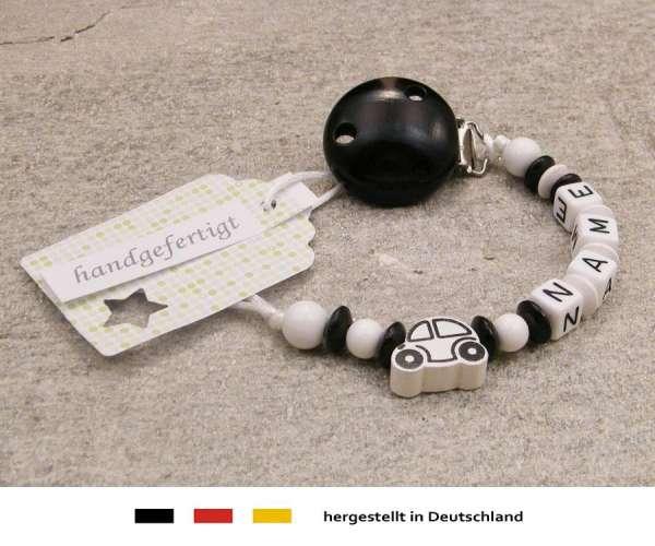 Schnullerkette mit Wunschnamen Motiv Auto in schwarz