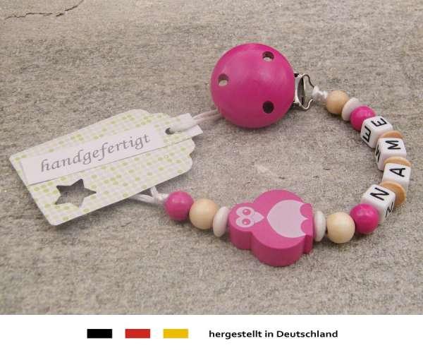 Schnullerkette mit Wunschnamen Motiv Pinguin in pink